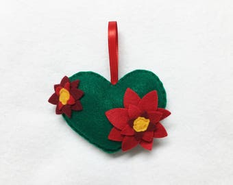Heart Ornament, Flower Ornament, Christmas Ornament, Anniversary Gift, Christmas Decoration, Nature Lovers