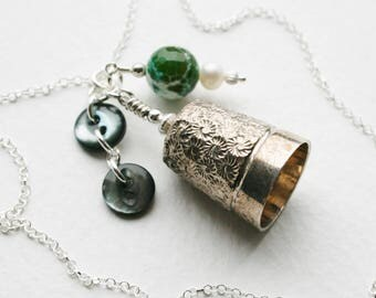 Silver Antique Thimble Charm Necklace Mother of Pearl Buttons Agate Pearl Charm