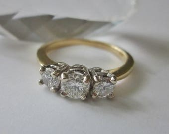 14Kt Gold and Diamond Ring size 7 Engagement Ring 3 stone diamond ring .75 tcw diamond ring
