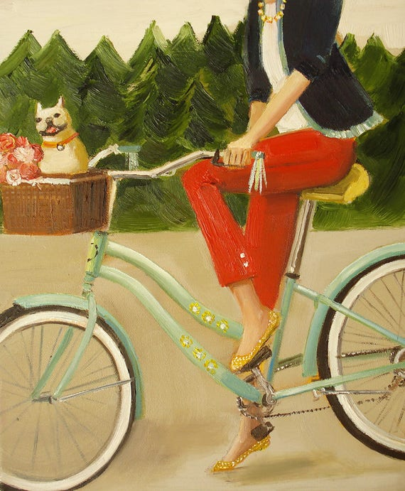 Francine And Her Frenchie. Art Print