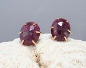 ruby stud earrings, rose cut ruby earrings, ruby and gold filled studs, Rachel Wilder Handmade Jewelry
