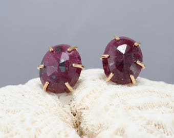ruby stud earrings, rose cut ruby earrings, ruby and gold filled studs, Rachel Wilder Handmade Jewelry
