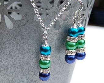 Blue Green Necklace and Earrings Set, Peacock Bridesmaid Jewelry, Royal Blue and Kelly Green Jewelry, Wedding Party, Blue Green Bridesmaid