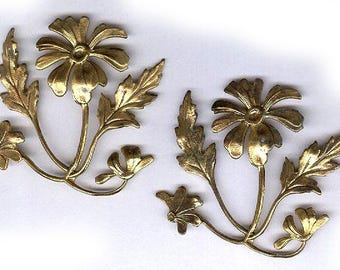 vintage FLORAL BRASS FINDINGS russian gold plate bendable antique stampings vintage flower shape findings