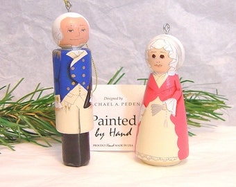 Ornament: President George Washington or First Lady Martha Washington,  hand painted wooden