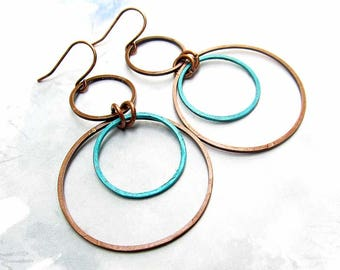 Copper Earrings Boho Earrings Bohemian Jewelry drop dangle earrings Circle Hoop Earrings Coworker Gift for Her Patina Copper Jewelry