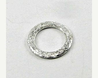SHOP SALE 15mm Flat Circle Shaped Bali Sterling Silver Brushed Line Texture Loop Connector Eternity Rings Links (20 beads)