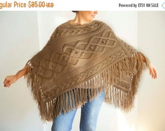 20% WINTER SALE Beige Cable Knit Poncho by Afra