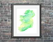 Ireland watercolor typogr...