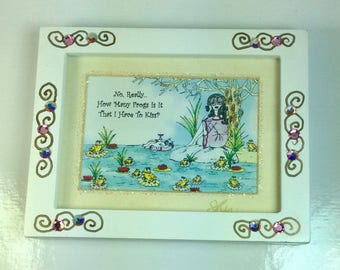 The Frog Prince Mini Jeweled Framed Print with a whimsical funny sayings, girlfriend gifts, bridesmaid gifts, humorous illustrations by Sher