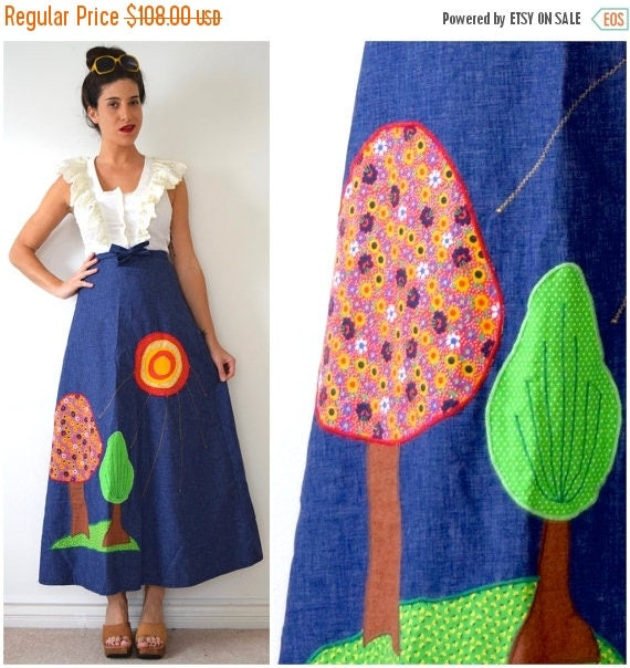 SUMMER SALE / 20% off Vintage 70s Two Trees Appliqued Denim Chambray A Line High Waisted Wrap Around Maxi Skirt