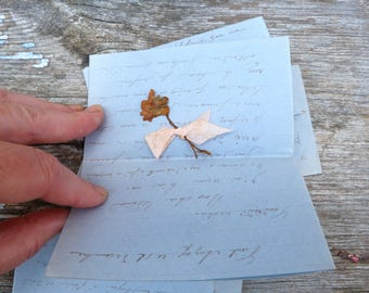 Vintage  Antique 1903  French set of 4 handwriten love letters/ blue paper/dry flowers