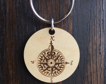 Compass Wood Pendant keychain