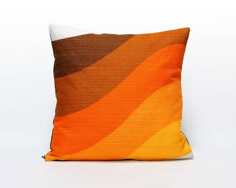Orange Throw Pillow, retro cushion cover, custom pillow cover, designer pillow, couch cushion, handmade modern home decor by EllaOsix