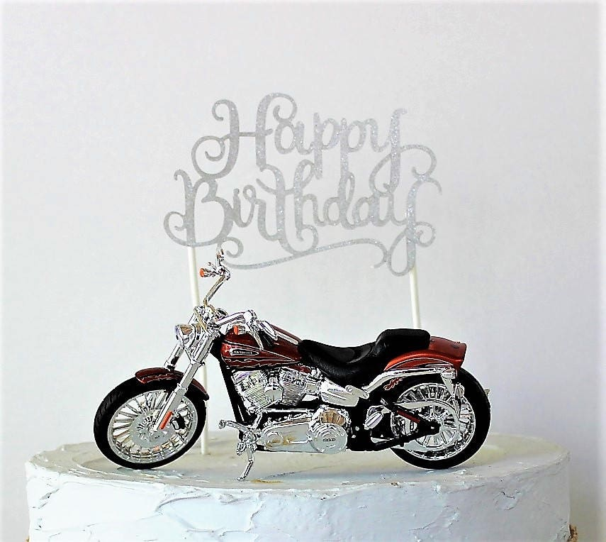 Motorcycle Cake Topper Happy Birthday Cake Topper Birthday