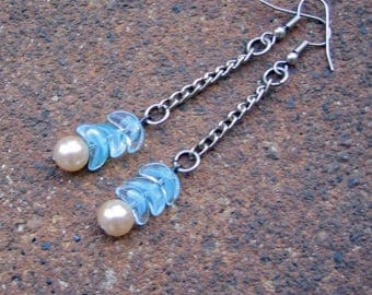 Eco-Friendly Dangle Earrings - A Wing and A Prayer - Recycled Vintage Chain, Wing-Shaped Sky Blue Glass Beads and Creamy White Glass Pearls