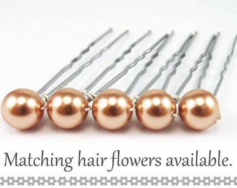 Rose Gold Pearl Hair Pins- 8mm Rose Gold Swarovski Pearls (5 qty) - FLAT RATE SHIPPING