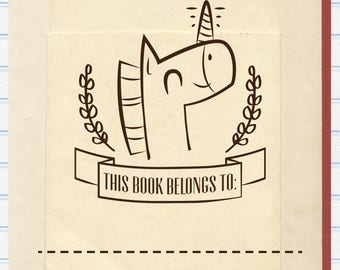 Unicorn Book Stamp, This Book Belongs to Stamp