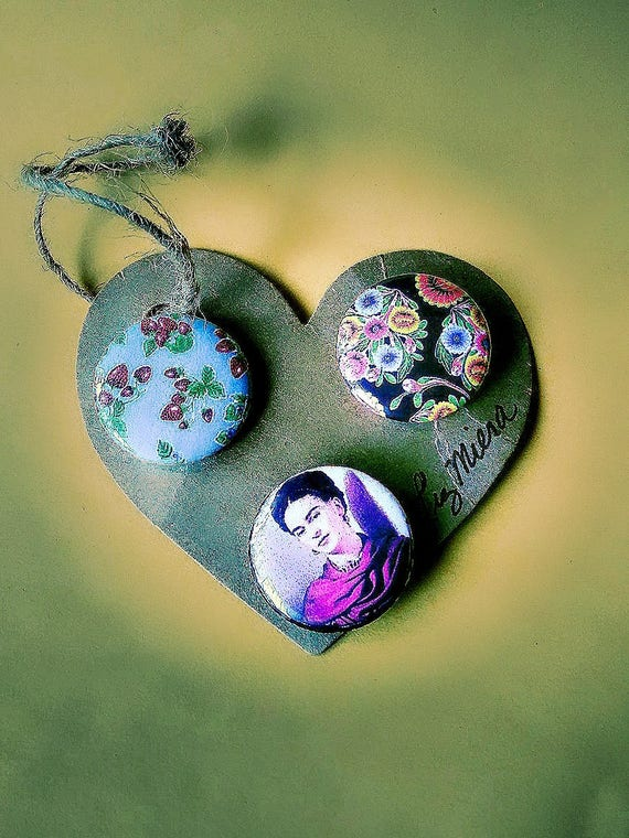 oil cloth design and frida kahlo 1 inch pins