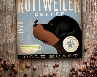 Rottweiler dog Coffee Company advertising style artwork on gallery wrapped canvas design by stephen fowler