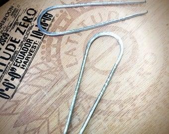 """3"""" Hammered Silver Hairpins - Galvanized Steel"""