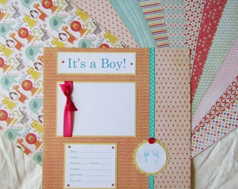 Premade 12x12 Scrapbook Album Pages - BABY BOY - FiRsT YeAr ALbUm -- alphabet soup, baby book, memory book, 1st year collection, 20 layouts
