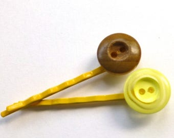 BUTTON JEWELRY SALE Hairpins made from vintage buttons in Yellow Swirl and Wood Grain