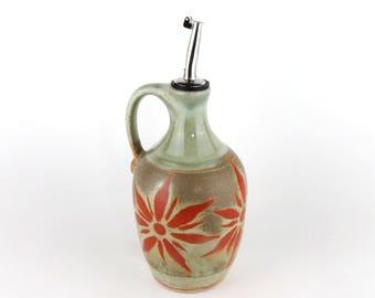 Olive Oil Cruet - Olive Oil Bottle - Oil Dispenser - Stoneware- 15 oz. - Pale Green with Terracotta Sunburst