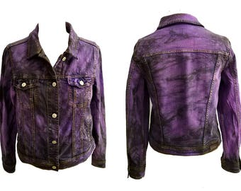 Size S punk jacket acid wash tie dye purple smoke denim jacket | cropped jeans jacket | acid wash jacket