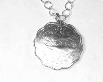 Vintage Bahamas Bonefish coin necklace-handmade in the USA-free shipping