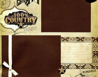 100% Country - 12x12 Premade Western Scrapbook Page