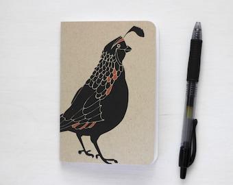 small pocket notebook california quail design bird lover gift for birder stocking