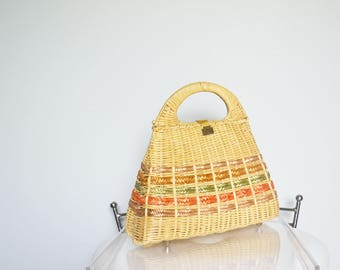 Vintage Wicker  Purse Straw handbag