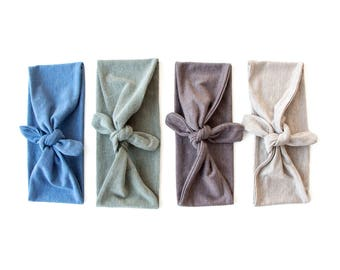SALE SEE DESCRIPTION // Fabric Headband // Tie Up Hair Wrap // Marl // Flecked // Cornflower Blue // Moss Green // Taupe Brown // Barley