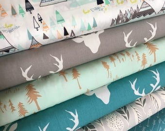 Hello Bear, Deer fabric, Fox fabric, Forest fabric, Hygge decor, Art Gallery, Fabric Bundle of 6- Choose the Cut, Free Shipping Available