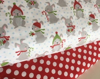 Christmas fabric, Bunny fabric, nursery Decor, novelty fabric, Fabric Bundle of 2, Choose The Cuts