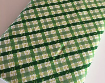 Outdoors fabric, Hike Camp Fish Hunt, Boy Room Decor, Baby Quilt, Tree Arrow, Blue Brown, Outdoors Plaid in Green - Choose the cut