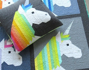 Unicorn quilt pattern, Lisa the Unicorn, Elizabeth Hartman Pattern, Baby Quilt, Animal Quilt, Woodland Animals, Unicorn decor party