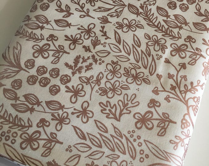 Rose Gold Fabric, Floral Fabric, Metallic Fabric, Gift for Her, Fabric by the Yard, Yes Please Main in White - Choose the cut