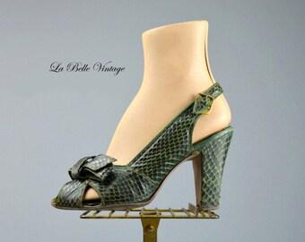 40s Green Snakeskin Shoes US 7 UK 5 Vintage Peep Toe Slingback Heels