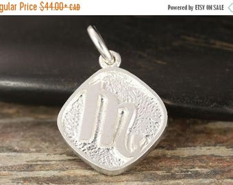 CLOSING SALE Scorpio zodiac pendant in sterling silver - double sided, Scorpion necklace, zodiac necklace, zodiac jewelry