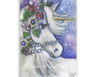 Original Art Card, ACEO, Decorated Unicorn