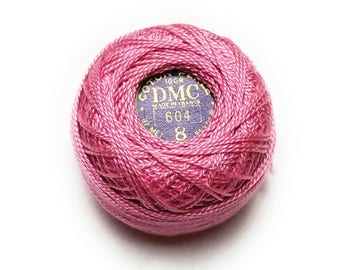 DMC 604 Light Cranberry | Medium Pink Perle Cotton Thread Size 8 -  Great to sew Felt Toys