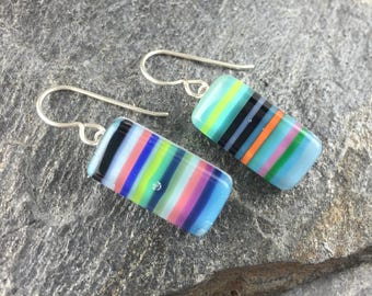Colorful Stripe Fused Glass Earring Design. Glass Earrings in Multi-Color. Fused Glass Jewelry. Modern Glass Earrings. Everyday Earrings.