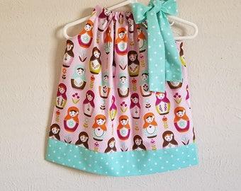 Pillowcase Dress, Girls Dresses, Little Matryoshka, Riley Blake, Russian Dolls Babushka Dress with Dolls Dress with Flowers Purple Dress