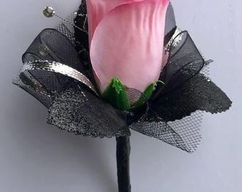 Varigated Pink Silk Rose Boutonnière