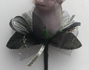 Silver Gray Silk Rose Boutonnière