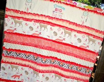 "Handmade Rag Quilt ~Baby Girl/Toddler~ ""Dream BIG Little One"