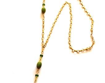 Black Gold Y Necklace / Long Gold Y Necklace / 14k Gold Chain Green Onyx Gems / Asymmetric Black Onyx Gemstone Pendant Statement Necklace
