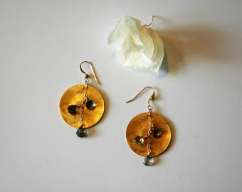 Gold Gemstone Earrings / Gold Dangle Earrings / Round Circle Vermeil Gold Earrings with Dangling Black Rutilated Quartz Gemstones